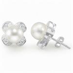 Cultured White Pearl & CZ 925 Ster...