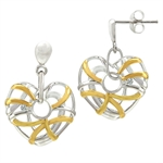 White Diamond 2-Tone Gold Plated 925 Sterling Silver Weave Heart Post Earrings