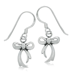 Cute 925 Sterling Silver RIBBON/BOW Dangle Earrings