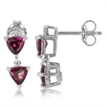 BRAZILIAN RHODOLITE & DIAMOND White Gold Plated 925 Sterling Silv...