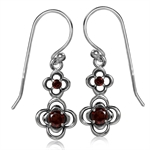 Natural Garnet 925 Sterling Silver Twin Flower Dangle Earrings