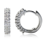 White CZ 925 Sterling Silver Journey Huggie/Hoop Earrings