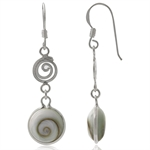 Shiva Shell Inlay 925 Sterling Silver Swirl/Spiral Dangle Earrings