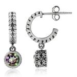 1.16ct. Mystic Fire Topaz 925 Sterling Silver Leaf C-Hoop Flower Dangle Earrings
