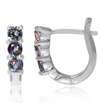 3-Stone Mystic Fire Topaz 925 Sterling Silver Huggie Earrings