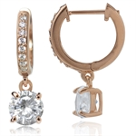 White CZ Rose Gold Plated 925 Sterling Silver Huggie/Hoop Dangle Earrings
