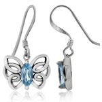 Natural Blue Topaz 925 Sterling Silver Butterfly Dangle Earrings