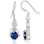 Synthetic Blue Sapphire 925 Sterling Silver Filigree Butterfly Dangle Earrings