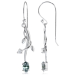 Simulated Color Change Alexandrite & White CZ 925 Sterling Silver Vine Leaf Earrings