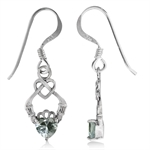 Simulated Color Change Alexandrite 925 Sterling Silver Celtic Knot Heart Claddagh Earrings