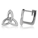 12MM 925 Sterling Silver Triquetra Celtic Knot Huggie Earrings