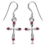 Simulated Ruby White Gold Plated 925 Sterling Silver Cross Dangle Earrings
