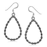 925 Sterling Silver Oxidized Finishing Pattern Drop Shape Dangle Earrings
