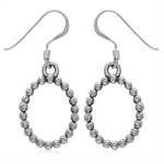 Beaded Ball Pattern  925 Sterling Silver Oval Shape Donut Dangle Earrings