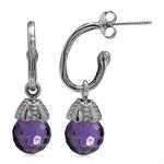 Amethyst Purple CZ Sphere Ball 925 Sterling Silver Dangle Drop Hoop Earrings