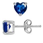 Heart Shape Synthetic Sapphire Blue 925 Sterling Silver Stud Earrings