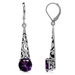 4.62ct. Natural African Amethyst 925 Sterling Silver Filigree Cone Shape Dangle Earrings