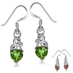 Heart Shape Synthetic Color Change Diaspore 925 Sterling Silver Swirl Dangle Hook Earrings