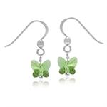 Butterfly Shape Peridot Green Crystal 925 Sterling Silver Dangle Hook Earrings