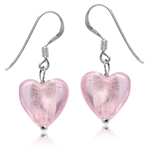 Heart Shape Pink Crystal 925 Sterling Silver Dangle Hook Earrings