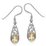 Natural Citrine White Gold Plated 925 Sterling Silver Filigree Drop Dangle Hook Earrings
