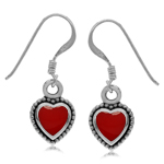 Heart Shape Created Red Color Inlay 925 Sterling Silver Bali/Balinese Style Drop Dangle Earrings