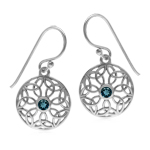 Genuine London Blue Topaz 925 Sterling Silver Triquetra Celtic Knot Circle Dangle Hook Earrings