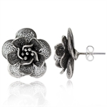 HANDMADE 925 Sterling Silver Flower Filigree Post Earrings