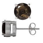 3.94 ct. Natural Smoky Quartz 925 Sterling Silver Stud Earrings