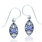 Natural Tanzanite 925 Sterling Silver Filigree Hook Earrings