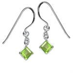 1.48ct. Natural Peridot 925 Sterling Silver Dangle Earrings