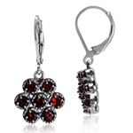 2.24ct. Natural Garnet 925 Sterling Silver Flower Cluster Leverback Earrings
