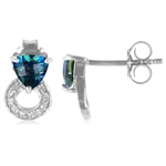 NEPTUNE TOPAZ & WHITE TOPAZ White Gold Plated 925 Sterling Silver...