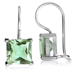 9.24ct. Natural Green Amethyst 925 Sterling Silver Hook Earrings