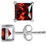 6MM Square Garnet Red CZ 925 Sterl...