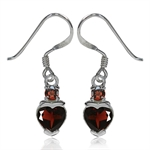 1.8ct. Natural Heart Shape Garnet 925 Sterling Silver Dangle Earrings
