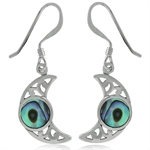 Abalone/Paua Shell 925 Sterling Silver Filigree Moon Dangle Earrings