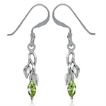 Natural Peridot 925 Sterling Silver Leaf Dangle Earrings