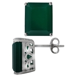 11.26ct. Natural Emerald Green Agate 925 Sterling Silver Stud/Post Earrings