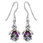 1.52ct. Mystic Fire Topaz 925 Sterling Silver Drop Dangle Earrings