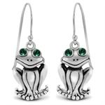 Emerald Green Crystal (Swarovski) 925 Sterling Silver Frog Dangle Earrings