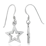 925 Sterling Silver Simple STAR Dangle Earrings