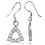 CZ White Gold Plated 925 Sterling Silver Dangle Geometric Earrings