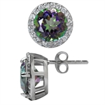 Mystic Fire Topaz White Gold Plated 925 Sterling Silver Stud/Post Earrings