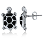 Black Onyx Inlay 925 Sterling Silver TURTLE Post Earrings
