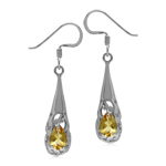 Natural Citrine White Gold Plated 925 Sterling Silver Filigree Cone Shape Dangle Earrings