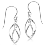 925 Sterling Silver Twisted Double Drop Dangle Hook Earrings
