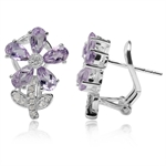 2.1ct. Natural Amethyst & White Topaz 925 Sterling Silver Flower & Leaf Earrings