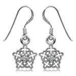 Genuine Topaz White Gold Plated 925 Sterling Silver Filigree Snowflake Dangle Earrings