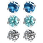 6-Piece 5MM Blue & White CZ 925 Sterling Silver Stud Earrings Set